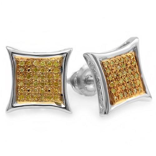 0.15 Carat (ctw) Sterling Silver Yellow Round Diamond Micro Pave Setting Kite Shape Stud Earrings