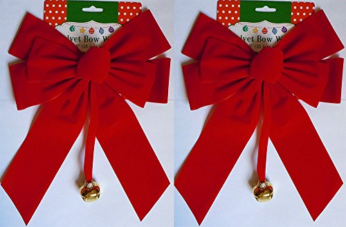 2, 4, 8 or 12 Large Red Velvet Christmas Bows 10