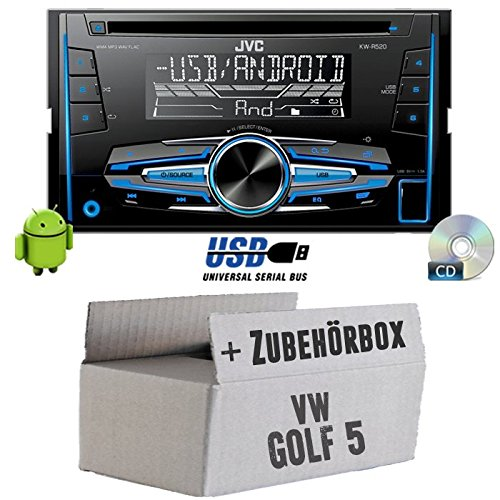 VW-Golf-5-V-JVC-KW-R520E-2DIN-Autoradio-Radio-Einbauset