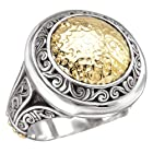 925 Silver Hammered Circle Ring with 18k Gold Accents- Size 6