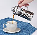 French Press Coffee Maker - Single Serve - Decorative Heat Resistant Glass - Stainless Steel Plunger