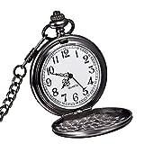 WOLFTEETH 古典的な スムースビンテージ ブラックスチール黒鋼 メンズ 懐中時計 時計 ポケットウォッチ