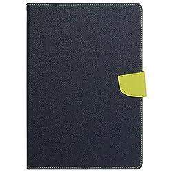 DW Mercury Fancy Folding Flip Folio with 4 card slot Stand Case Cover for Samsung Galaxy Tab A 8.0inch (8 LTE) SM T355 SM-T350 (Blue + Green)