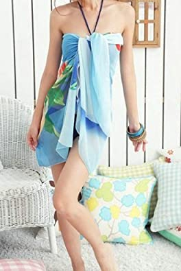 Hot Sexy Blue Chiffon Wrap Relax Dress Sarong Beach Cover Up Scarf Sun Dresses