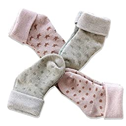 Organic Cotton Baby Socks - Infant Toddler Thermal Cotton Sock - 4Pack (1 - 3Years)