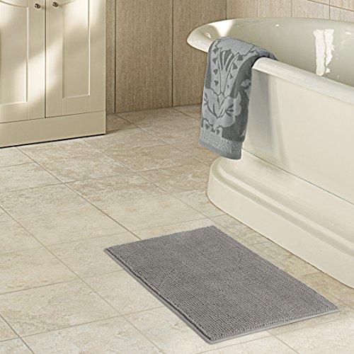 "Lifewit Microfiber Soft Bathroom Mat Non-slip Shaggy Chenille Bath Mat Shower Rug 20""x32"" Grey"