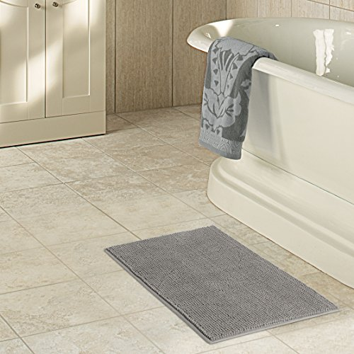 "Lifewit Microfiber Soft Bathroom Mat Non-slip Shaggy Chenille Bath Mat Shower Rug 20""x32"" Grey"