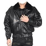 シープスキン ラム フライトジャケット メンズ ミンク襟 革ジャン ジャンパー アウターウェア ブルゾン : M ブラック