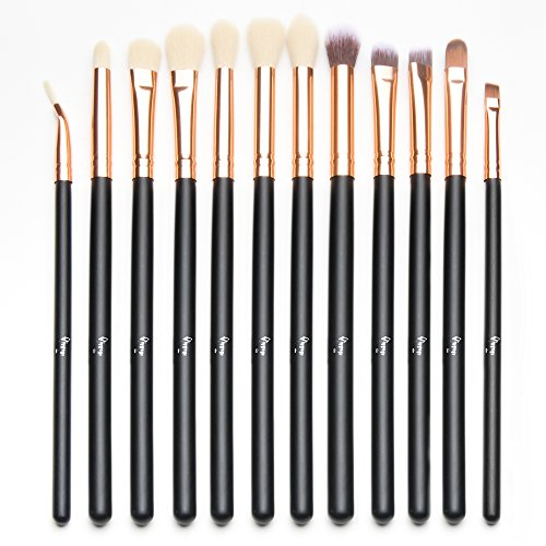 Qivange 12pcs Eye Brush Set, Cosmetics Concealer Eyeliner Blending Eyeshadow Brushes (Black with Rose Gold)