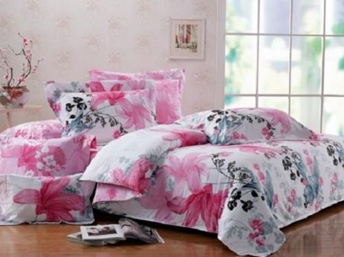 Twin/Twin Xl 100% Cotton Girls Teen Pink Black Gray Floral Comforter Bedding Set front-959142
