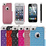 XYUN 2-piece Apple iPhone 5c Bling Glitter Case with Screen Protector and Random Color Stylus (pink)