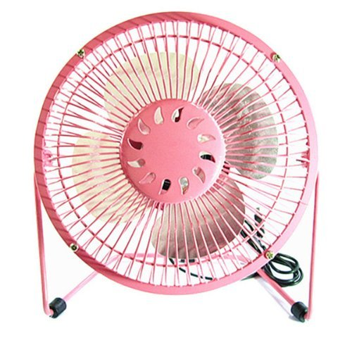 6-Inch 360-Degree Rotating Usb Powered Mini Metal Electric Fan Desk Cooling Fan For Pc / Laptop / Notebook (Pink)