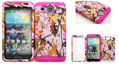 Lg Optimus G Pro E980 Pink Leaf Camo Mossy Hard Plastic Snap On + Pink Silicone Kickstand Cover Case front-569330