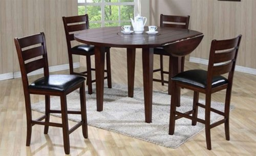 buy low price click 2 go drop leaf counter height table and 4 pub chair with black cushion in. Black Bedroom Furniture Sets. Home Design Ideas