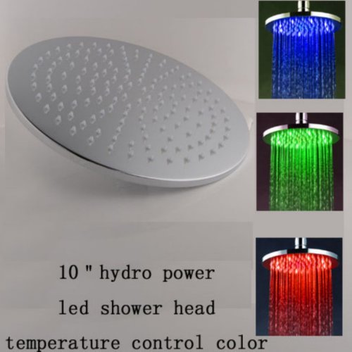"10"" Led Shower Head Chrome Brass Round Bathroom Rainfall Overhead Mixer Tap Faucet Shower (Only Head , No Arm)"