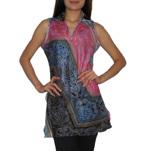 Womens Thai Exotic Sexy Fitted Sleeveless Tank Top / Blouse - Size: Large