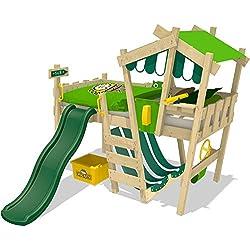 WICKEY Kinderbett CrAzY Hutty Hochbett Abenteuerbett inkl. Lattenboden - Apfelgrün-Grün + grüne Rutsche