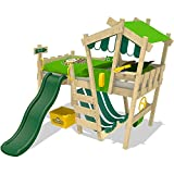 WICKEY-Kinderbett-CrAzY-Hutty-Hochbett-Abenteuerbett-inkl-Lattenboden-Apfelgrn-Grn-grne-Rutsche