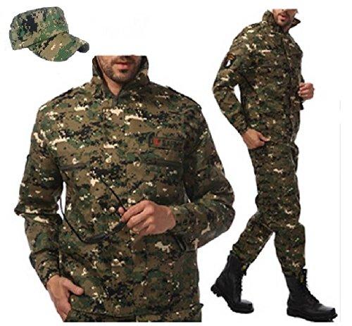 (アクアビット) acquabit US ARMY 迷彩服 ミリタリー サバゲー 戦闘服 ズボン ジャケット 上下 セット 同柄 迷彩帽子 付