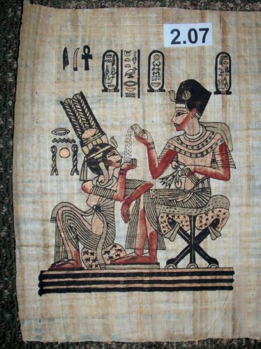 Egyptian Papyrus Painting *Tutankhamen And His Wife. (The Daily Life Of The King And Queen.) * King Pouring Perfume Into His Wife Palm * Ep.B-2.7