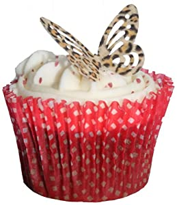Sb leopard print edible rice paper butterfly cupcake for Animal print edible cake decoration