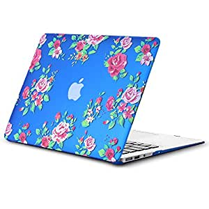 """Kuzy Vintage Flowers Rubberized Hard Case for MacBook Air 13.3"""" (A1466 & A1369) - Blue"""