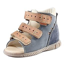 Memo Dino 1DA First Walker Toddler Boy Orthopedic Leather Anti-Slip Sandal, 19 (4T)