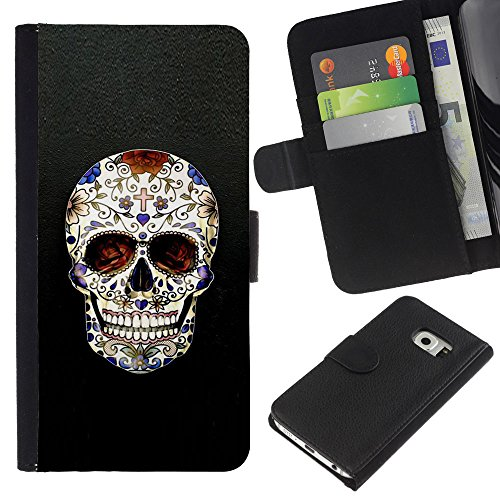 ZCell / Samsung Galaxy S6 EDGE / Skull Cross Christian Death Bling Biker / Wallet Custodia Portafoglio Snello Caso Case Cover Armor / Cranio Croc