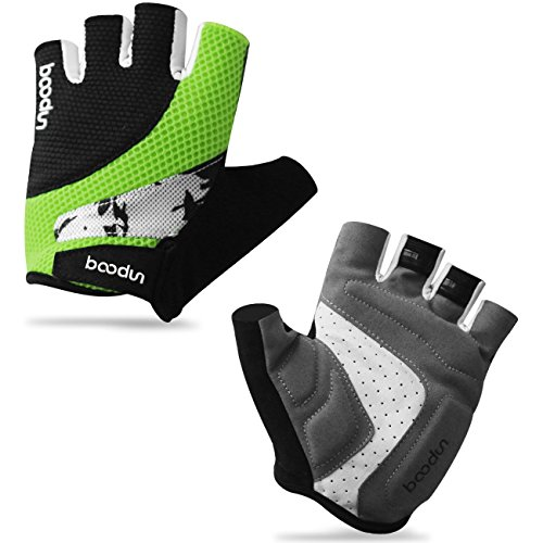 Sandwich Mesh Non-slip Foam Pad Half Finger Short Gloves for Cycling Mountain Bike Road Racing Bicycle Riding Motorcycle Driving Gym Fitness Exercise Body Building Training (Black Green, L)