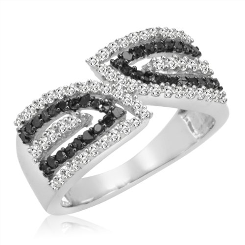 Black and White Diamond Anniversary Ring in Sterling Silver (1/2ct tw Sizes 6-8) SZ6