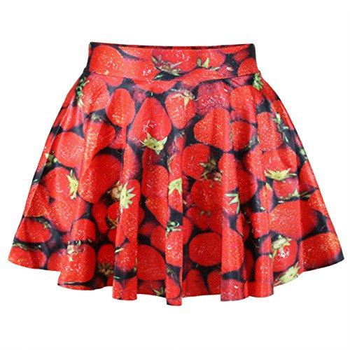 Women Girls Fashion Digital Print Stretchy Flared Pleated Casual Mini Skirt Strawberry Free Size