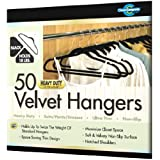 Closet Complete Ultra Thin Heavy Duty No Slip Velvet Suit Hangers, Black, Set of 50 ~ Closet Complete