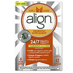 Align Probiotic Supplement, 24/7 Digestive Support with Bifantis, 42 Count Capsules