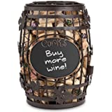 Epic Products Cork Cage Chalkboard Wine Barrel, 9.75-Inch