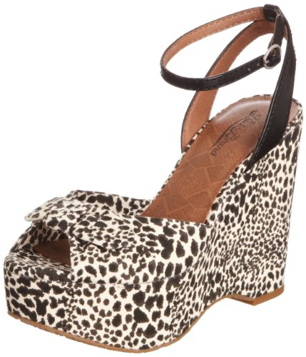 Lucky Brand Women's Viera Snake Leopard Print Black Natural Ankle Strap 4 UK
