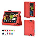 CaseGuru Orange Devine Delight Pad Entertainment Multi-Functional Wallet Stand Case Cover Featuring Magnetic Snap Closure, Pen Holder & Viewing Stand For The Kindle Fire HDX 7' Tablet Kindle Fire HDX 7 Inch