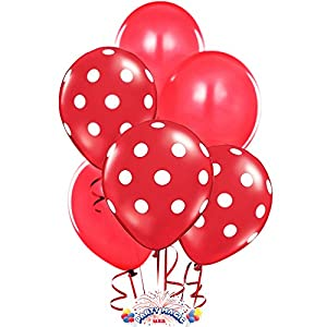 Balloons 11 Inch Premium Latex Assorted Red with White Polka Dots and Red Plain