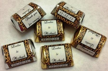 300 Leopard Themed Candy Wrappers/Stickers/Labels For Your Hershey Nugget Chocolates (Personalized Favors For Weddings, Annivarsaries, Bridal, Baby Shower Or Any Party/Event. front-290171