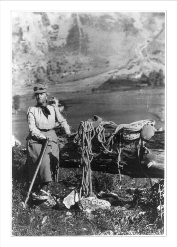 Historic Print (L): [Fannie Bullock Workman posed on mountain with mountain climbing gear]