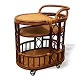 Handmade High Quality Woven Natural Rattan Wicker Serving Cart with Wheels Brown Fully Assembled