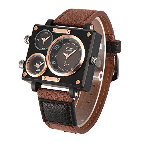 Sub Dial Leather Analog Strap Watch