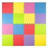 Foam Play Mats (16 Tiles + Borders) Kids Puzzle Playmat Tiles | Non-Toxic Interlocking Floor Children & Baby Room Soft EVA Thick Color Flooring Square Rubber Babies Toddler Infant Exercise Area Carpet