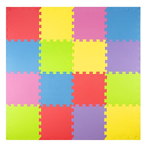 Foam play mats 16 tiles borders safe kids puzzle for Mats for kids room