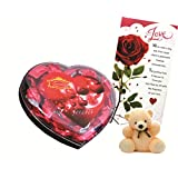 Skylofts Chocolate Valentine's Heart Box With A Cute Teddy & A Love Card