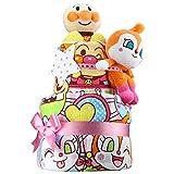 出産祝い アンパンマン ぬいぐるみ2体とタオル2枚の超豪華 おむつケーキ パンパースS おもちゃ 女の子向け ドキンちゃん