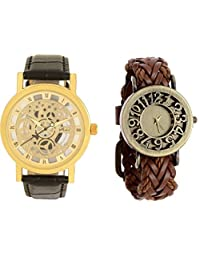 COSMIC COUPLE WATCH COMBO SKELETON TYPE ANALOG WATCH WITH BROWN LEATHER STRAP WATCH