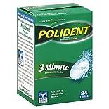 Polident Denture Cleanser, Antibacterial, 3 Minute, Tablets, Triple Mint Freshness, 84 tablets