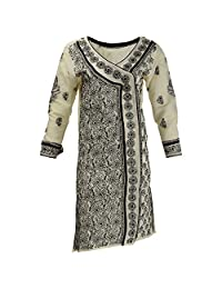 Lucknow Chikan Industry Women's Cotton Straight Kurti (Cream , 40 Inches)