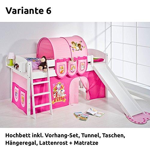 Hochbett Spielbett IDA Filly, mit Rutsche und Vorhang, weiß, Variante 6 jetzt kaufen