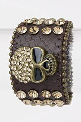 Trendy Fashion Crystal Skull Leather Bracelet By Fashion Destination from Fashion Destination